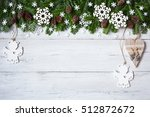 christmas wooden background... | Shutterstock . vector #512872672