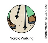 nordic walking icon   circle... | Shutterstock .eps vector #512873422