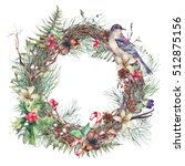 christmas vintage floral wreath ... | Shutterstock . vector #512875156