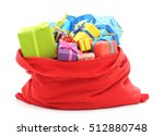 santa's bag of gifts isolated... | Shutterstock . vector #512880748