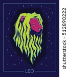zodiac sign leo on night starry ... | Shutterstock . vector #512890222