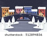 winter city landscape at night. ... | Shutterstock .eps vector #512894836