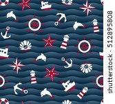 sea symbols on a blue wavy... | Shutterstock . vector #512895808