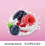 forest berry and milk splash.... | Shutterstock .eps vector #512901262