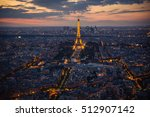 paris  eiffel tower  at evening ... | Shutterstock . vector #512907142