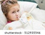 sick little girl holding... | Shutterstock . vector #512935546