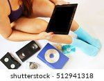 a lady backed up her old stuff... | Shutterstock . vector #512941318