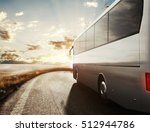bus driving on road. 3d... | Shutterstock . vector #512944786
