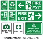 set of emergency fire exit  ... | Shutterstock .eps vector #512963278