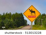Road Sign  Warning Of Moose...