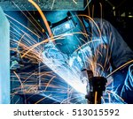 worker with protective mask... | Shutterstock . vector #513015592