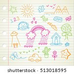 children's drawing on paper... | Shutterstock .eps vector #513018595