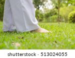 woman buddhist walking on green ... | Shutterstock . vector #513024055