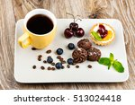 cup of coffee and pastry on... | Shutterstock . vector #513024418