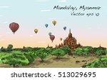 sketch landscape of mandalay ...   Shutterstock .eps vector #513029695