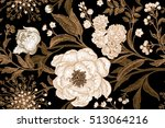 Stock vector white flowers peonies gillyflowers with leaves branches of gold foil on a black background 513064216