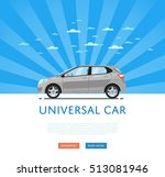 city car isolated on rays... | Shutterstock .eps vector #513081946