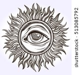 hand drawn eye of providence... | Shutterstock .eps vector #513085792