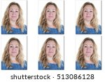 Stock photo passport picture of woman with long blond hair usa form photos 513086128
