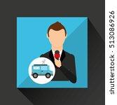 reporter man truck news design...