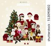 happy family posing for photo... | Shutterstock .eps vector #513090802