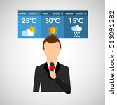reporter man weather forecast... | Shutterstock .eps vector #513091282