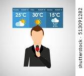 reporter man weather forecast... | Shutterstock .eps vector #513091282