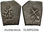 Small photo of Spanish Mexico Mexican silver coin 4 four reales 1731, part of shield, date and mintmark, part of Spanish arms, cross, lions and towers, coarse die, cob money, ship money, pirate money, silver