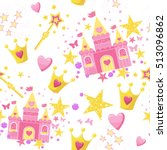 princess seamless pattern for... | Shutterstock .eps vector #513096862
