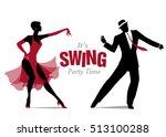 elegant silhouette couple... | Shutterstock .eps vector #513100288