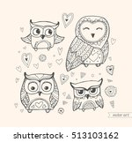 owls isolated. cute birds. set... | Shutterstock .eps vector #513103162