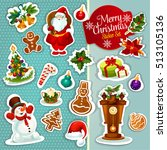 christmas sticker icon set with ... | Shutterstock .eps vector #513105136