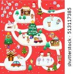 christmas city with santa claus ... | Shutterstock .eps vector #513117385