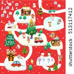 christmas city with santa claus ... | Shutterstock .eps vector #513117412