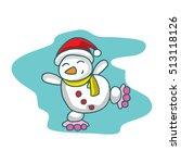 cartoon snowman with roller... | Shutterstock .eps vector #513118126