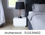 black table lamp with grey...   Shutterstock . vector #513134602