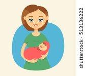 mother holding her little baby   Shutterstock .eps vector #513136222