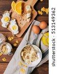 healthy breakfast bowl of... | Shutterstock . vector #513149362