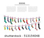 flat design colorful socks set... | Shutterstock .eps vector #513154048