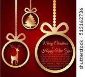 golden christmas ball cutted...   Shutterstock .eps vector #513162736