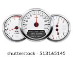 Stock vector speedometer tachometer fuel and temperature gauge car dashboard d vector illustration isolated 513165145