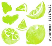 set of lime. watercolor... | Shutterstock . vector #513176182