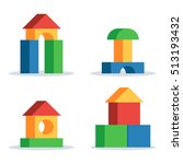 colorful wooden blocks toy  set ... | Shutterstock .eps vector #513193432