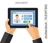 login concepts man holding... | Shutterstock .eps vector #513197302