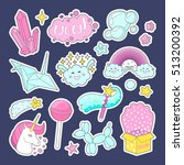 fashion patch badges with... | Shutterstock .eps vector #513200392