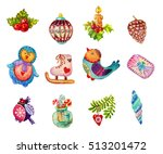 christmas watercolor icons ... | Shutterstock . vector #513201472