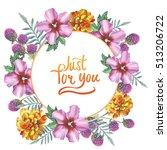 wildflower hibiscus wreath in a ... | Shutterstock . vector #513206722