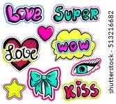 set of stickers sketch comics... | Shutterstock .eps vector #513216682