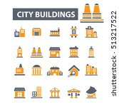 city buildings icons | Shutterstock .eps vector #513217522