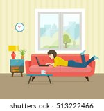 girl lying on the couch with... | Shutterstock .eps vector #513222466
